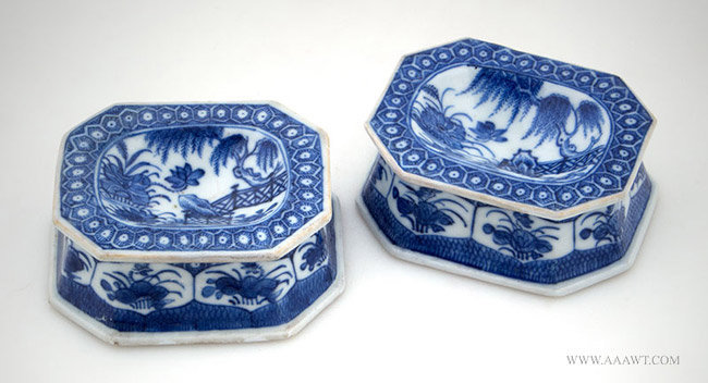 Antique Pair of Chinese Export Table Trench Salt Dishes, pair angle view