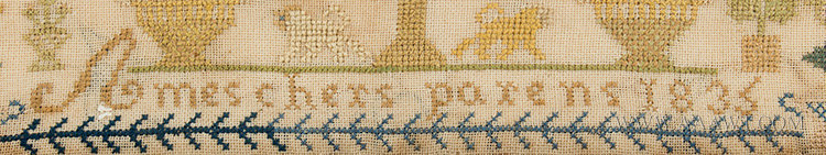 Antique Needlework, Sampler, Ames Chers Parens, French, 1835, detail