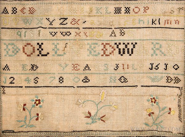 Antique Needlework Sampler by Dolly Edward, Aged 11 Years, New England, 1802, close up view