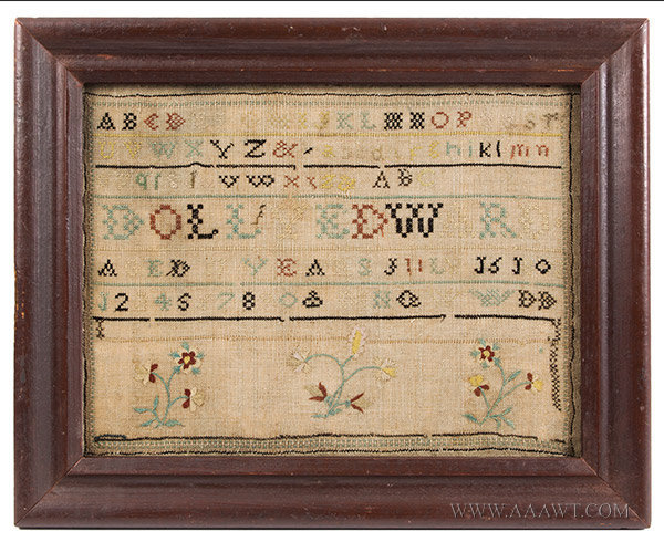 Antique Needlework Sampler by Dolly Edward, Aged 11 Years, New England, 1802, entire view