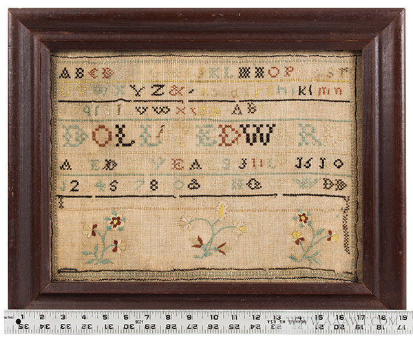 Antique Needlework Sampler by Dolly Edward, Aged 11 Years, New England, 1802, with ruler for scale