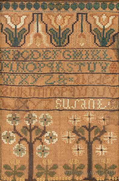 Antique Needlework, Sampler, Possibly Norwich, Connecticut, close up view