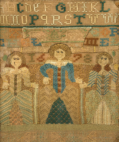 Antique Band Sampler with Three Female Figures, 17th Century, figures detail