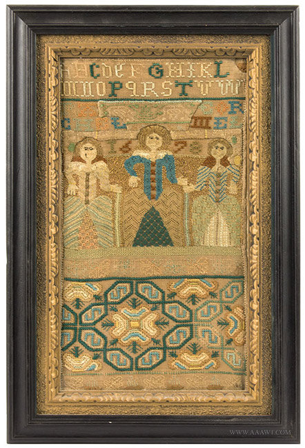 Antique Band Sampler with Three Female Figures, 17th Century, entire view
