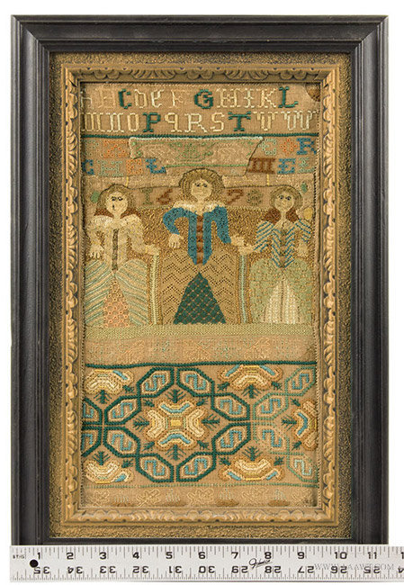 Antique Band Sampler with Three Female Figures, 17th Century, with ruler for scale