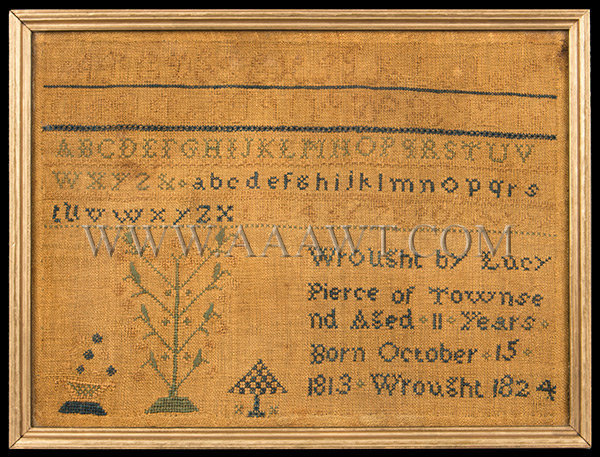 Antique Needlework Sampler by Lucy Pierce, Townsend, Massachusetts, Wrought 1824, entire view