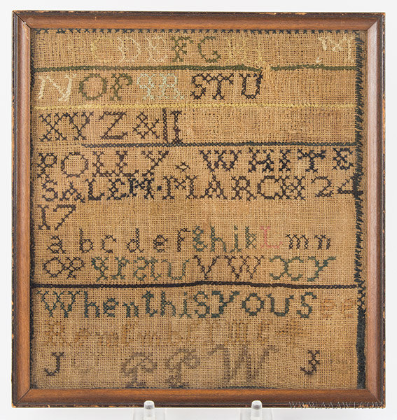 Antique Needlework Marking Sampler by Polly White of Salem, 18th Century, entire view