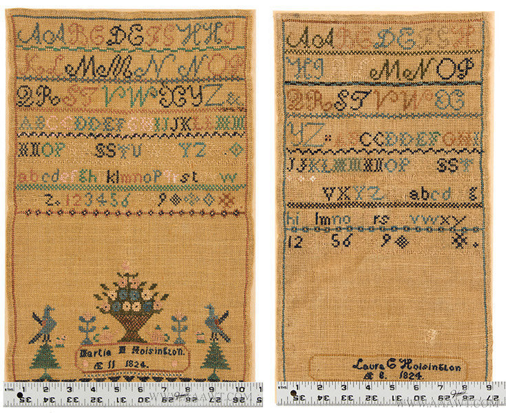 Antique Needlework, Pair of Sisters Samplers, Martia and Laura Hoisington, with ruler for scale