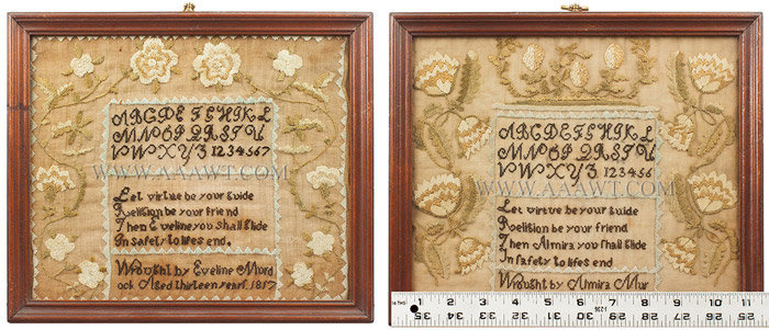 Antique Samplers, Pair, Done by Sisters, entire and ruler views
