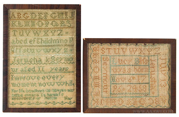 Samplers, Marking Samplers, Two Works by Jerusha Seymour (Born 1796) Likely Connecticut, entire view