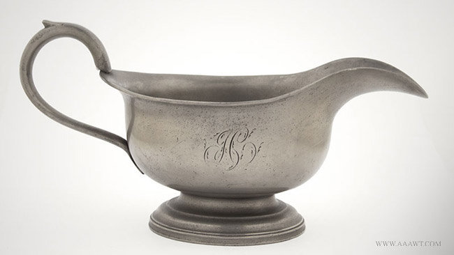 Antique Pewter Export Sauce/Gravy Boat, Townsend and Griffin, London, entire view