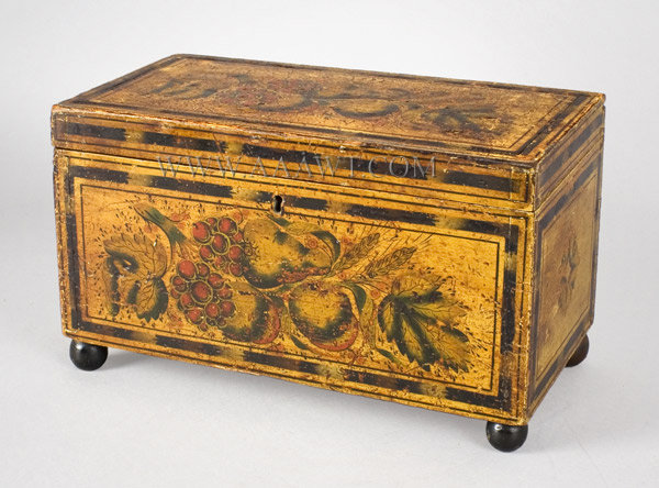 Box, Trinket or Document Box, Paint Decorated, Stenciled Northeast, America Circa 1825, entire view