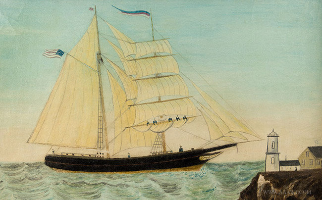 Antique Folk Art Seascape Painting of Sailboat and Lighthouse, Likely Maine, 19th Century, close up view