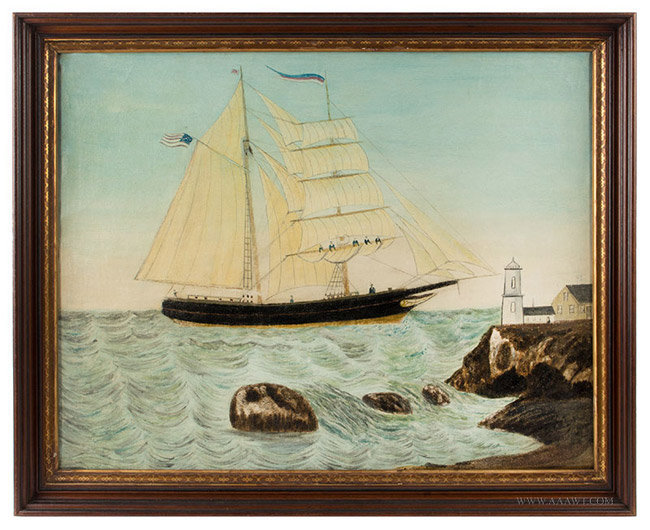 Antique Folk Art Seascape Painting of Sailboat and Lighthouse, Likely Maine, 19th Century, entire view