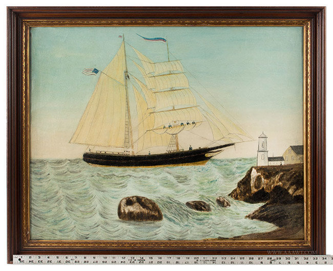 Antique Folk Art Seascape Painting of Sailboat and Lighthouse, Likely Maine, 19th Century, with ruler for scale