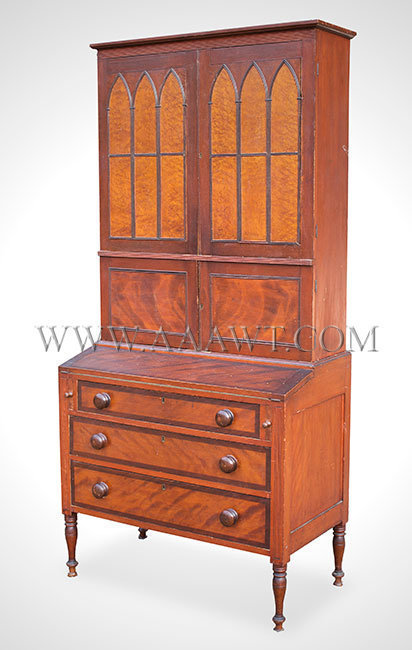 Antique Secretary, Country Federal Desk and Bookcase, Two Part, Three Section  Northern New England, Probably New Hampshire or Maine  Circa 1825, entire view