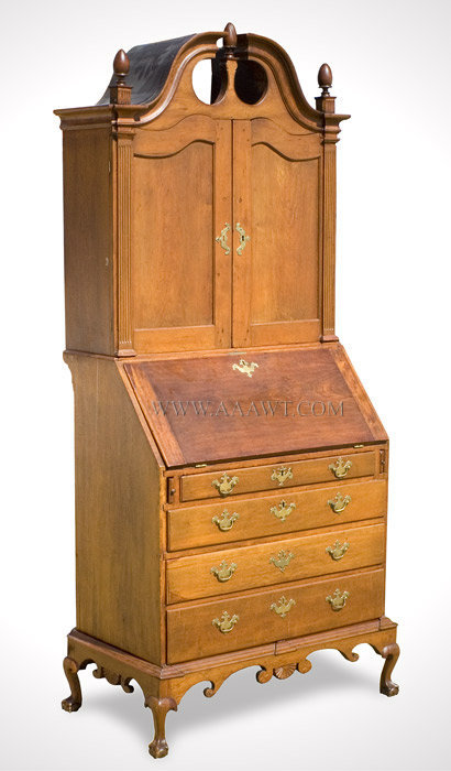 Country Secretary Desk and Bookcase on Frame, Broken Arch Pediment Carved  Fans and Scrolls, Steep and Full Bonnet Top, Intricately Molded Connecticut - Antique Furniture_Desk, Bookcase, Breakfront