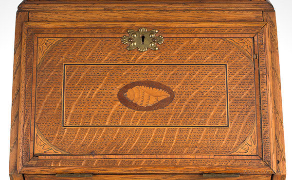Antique Salesman Sample Secretary, Inlaid and Glazed, Circa 1900, inlay detail
