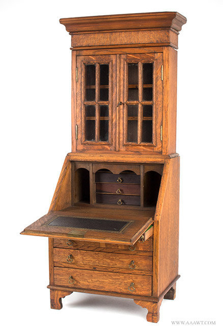 Antique Salesman Sample Secretary, Inlaid and Glazed, Circa 1900, angle open view