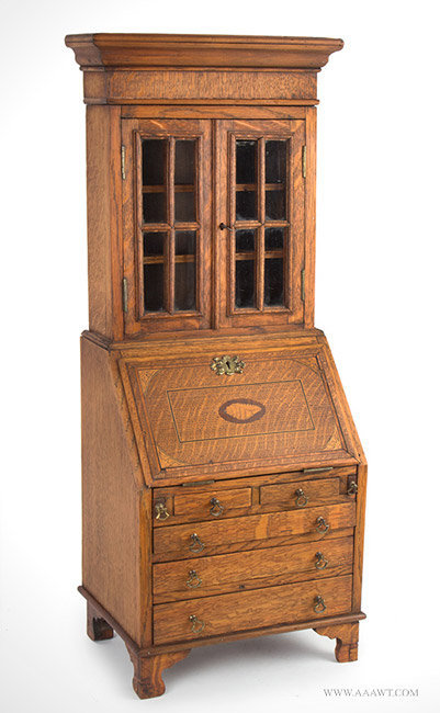 Antique Salesman Sample Secretary, Inlaid and Glazed, Circa 1900, angle view