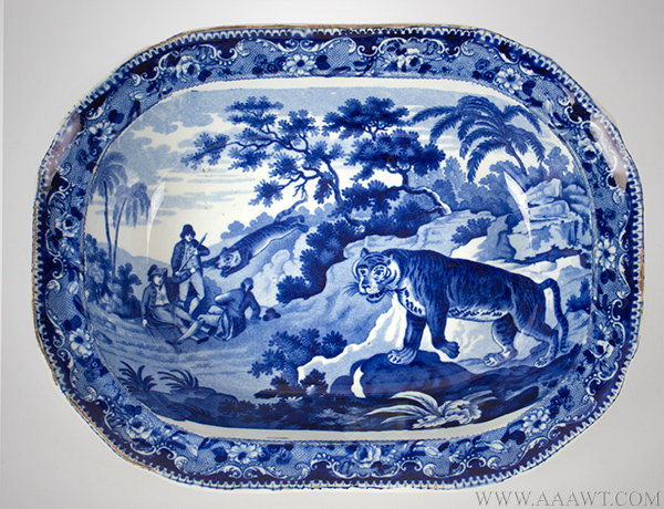 Enoch Wood Deep Blue Staffordshire Sporting / Zoological Series, Serving Bowl, Tiger