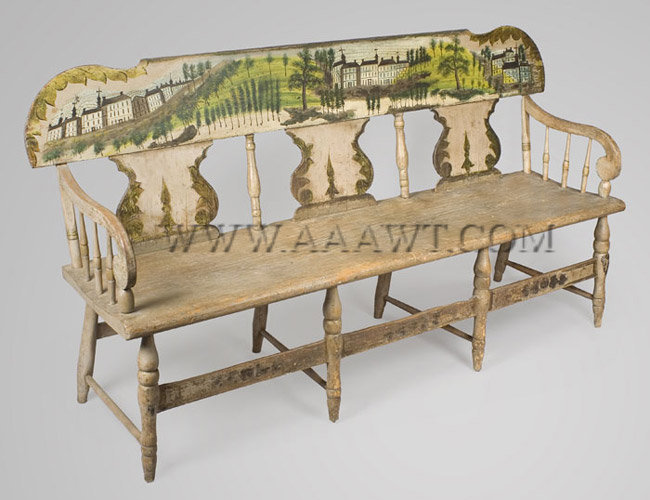 Windsor Settee, Paint Decorated, Tablet Back