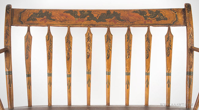 Antique Children's Windsor Rocking Settee/Bench in Original Paint and Decoration, 19th Century, rails detail