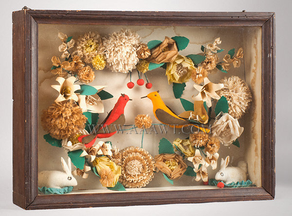 Antique Shadowbox, Bird and Rabbit, Fabric and Paper, Pennsylvania, angle view