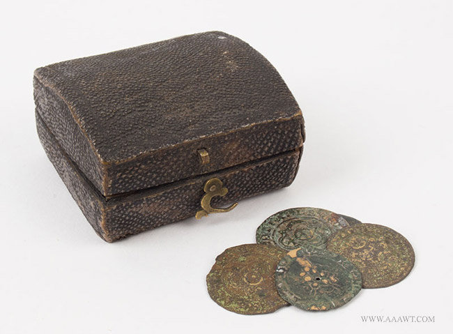 Antique Small Dome Top Shagree Covered Box Containing Coins, 18th Century, angle view with coins
