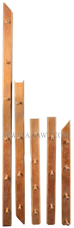 Shaker Peg Rails, Turned Pegs with Threaded Base Either New Lebanon or Hancock, both under auspices of same bishopric Circa 1830 to 1840, entire view