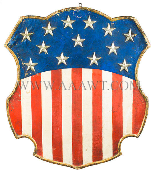Antique American Shield, Red White and Blue, 1876 Centennial, entire view