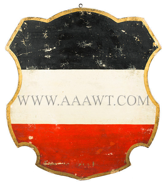 Antique American Shield, Red White and Blue, 1876 Centennial, rear view
