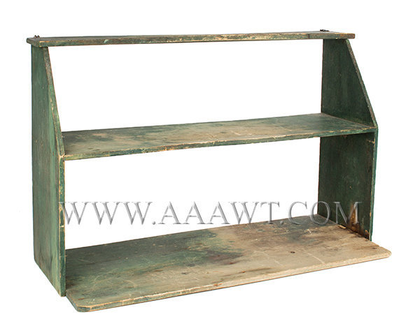 Shelf, Wall Shelf, Original Green Paint, Projecting Lower Shelf American, 19th Century, entire view