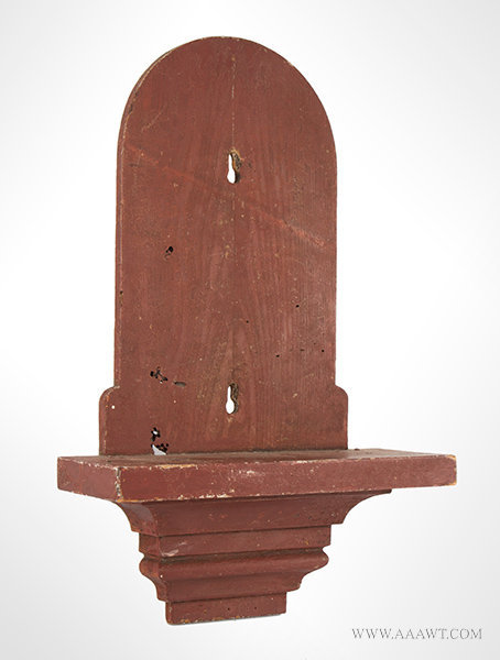 Antique Red Painted Clock Shelf, 19th Century, angle view