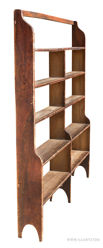 Antique Country Bookcase/Standing Shelves in Original Grain Paint, Early 19th Century, angle view 2