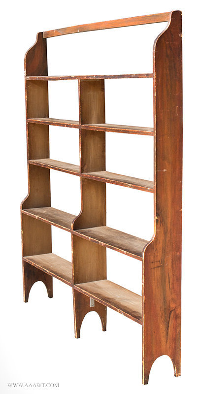 Antique Country Bookcase/Standing Shelves in Original Grain Paint, Early 19th Century, angle view 1