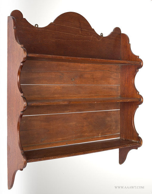 Antique Wall Hanging Shelf with Scalloped and Lobed Stiles and Crest in Old Surface, 19th Century, angle view 2