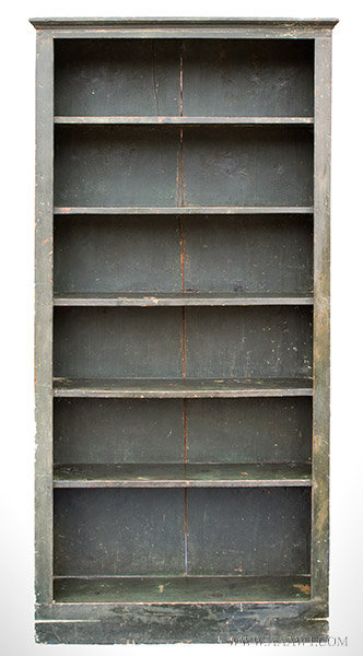 Antique Bookcase or Case of Shelves in Original Green Paint, 19th Century, entire view