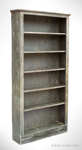 Antique Bookcase or Case of Shelves in Original Green Paint, 19th Century, angle view