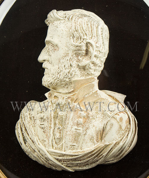 Bas Relief Bust Shell, General U.S. Grant, White Frosted on Convex Tin Shell