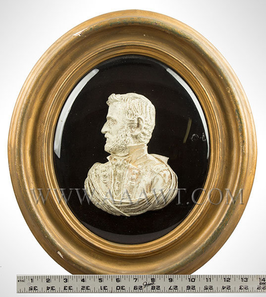 Bas Relief Bust Shell, General U.S. Grant, White Frosted on Convex Tin Shell ruler_