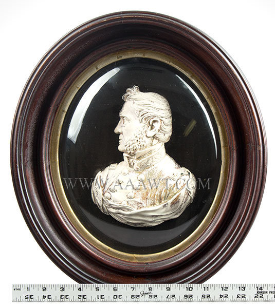Bas Relief Bust Shell, Winfield Scott, White Frosted on Convex Tin Shell