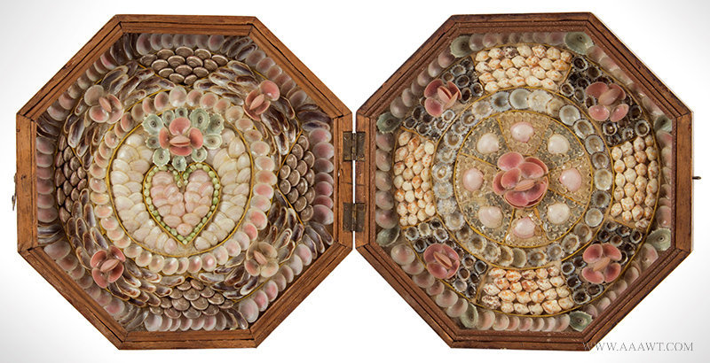 Antique Shellwork Sailors Valentine in Hinged Case, Barbados, Circa 1870, open view