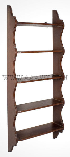 Five Protruding Shelves With Rounded Corners Dovetailed Into Stiles Having Scalloped And Lobed Profile Height 47 Width 18 75 8 5 Between Each