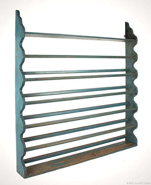 Antique Blue Painted Pewter Rack in Fine Original Condition, angle view