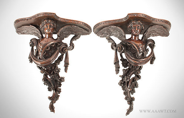 Wall Brackets, Pair of Shaped Shelves, Carved Winged Female Figures Anonymous, 18th Century, Mahogany, pair view