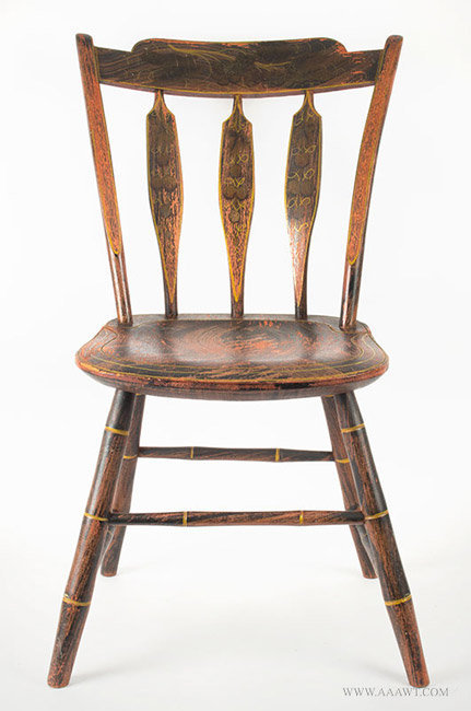 Antique Paint Decorated Windsor Thumb Back Chair, Circa 1825, entire view