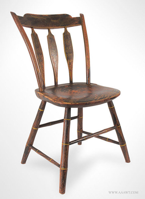 Antique Paint Decorated Windsor Thumb Back Chair, Circa 1825, angle view