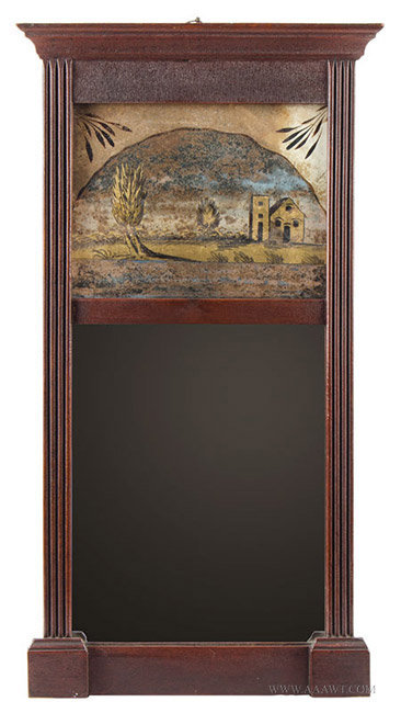 Antique Sheraton Mirror with Molded Cornice and Reverse Painted Tablet, Circa 1835, entire view