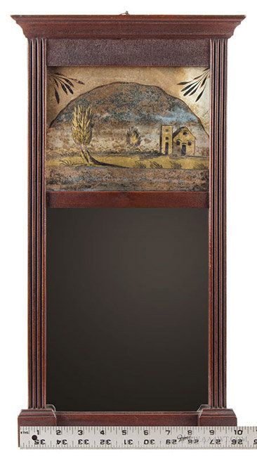 Antique Sheraton Mirror with Molded Cornice and Reverse Painted Tablet, Circa 1835, with ruler for scale